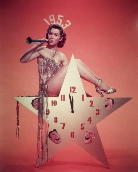 Debbie Reynolds toots the horn for the New Year, 1953.