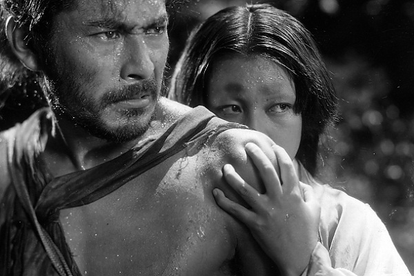 Toshiru Mifune and Machiko Kyô, in Rashomon, 1950.