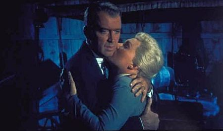 Jimmy Stewart and Kim Novak in Vertigo, 1958.