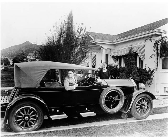 Richard Dix in his Pierce Arrow, 1920s.