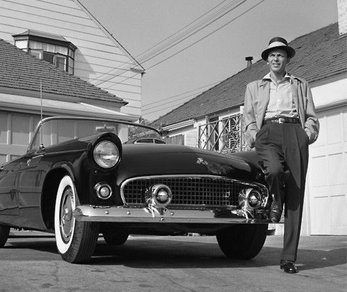 Frank Sinatra with his T-Bird, 1955.