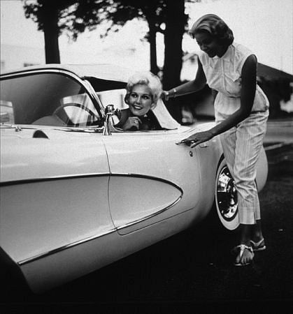 Kim Novak in her Corvette, 1960s.