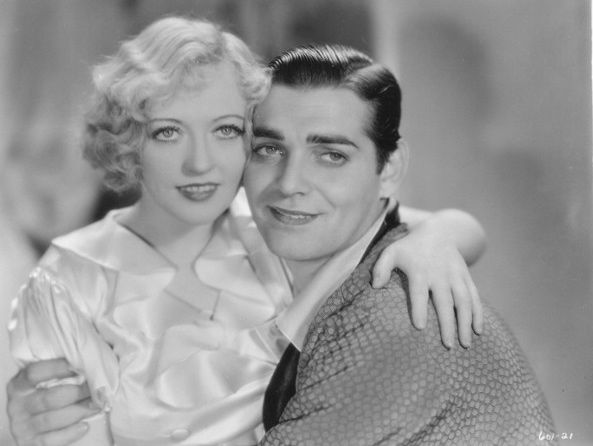 Marion Davies and Clark Gable. Early in his career, Gable was not yet the Gable who wore a pencil thin moustache. Gable and Davies starred in two movies together. In Cain and Mable (1936) in which Gable plays a prize figher and earlier in Polly of the Circus (1931) where Gable was cast as, get this, a pious minister. In both films, Gable was horribly miscast.