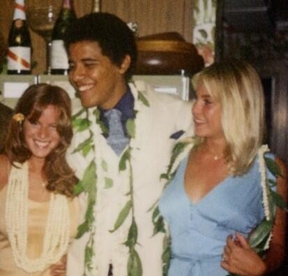 Here's Barack Hussein Obama, 35 years ago, in the inner city halls of Punahou Prep School in Hawaii.