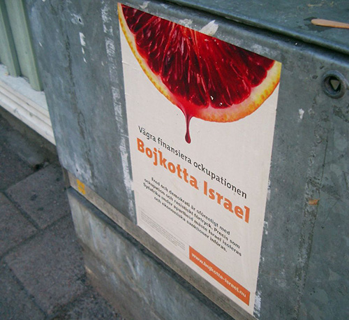 A Swedish poster urging the boycott of Israeli products. (Source: Creap)