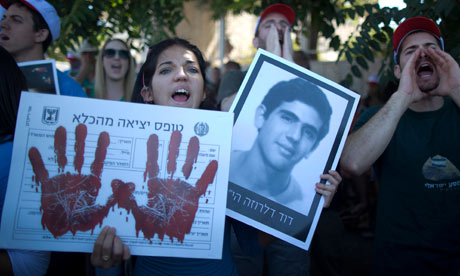 Israeli relatives of terrorist attack victims protest against a mooted prisoner release. Photograph: Abir Sultan/EPA