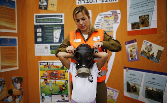 In Israel, Jewish children prepare for poison gas attacks from their IslamoNazi enemies.