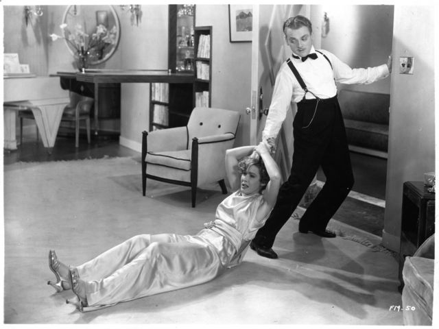 Jimmy Cagney and Mae Clarke having a great time working together, Lady Killer, 1933.