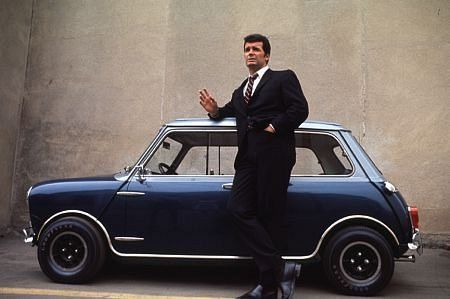 This photo of James Garner with a Mini Cooper S C. just cracks me up, 1966.