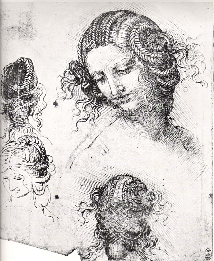 Four studies of Leda by Leonardo Da Vinci. In Greek mythology, the God Zeus transforms himself into a swan and travels to Earth to seduce a lady called Leda. She gives birth to two eggs that hatch to be Polydeuces and Helen.