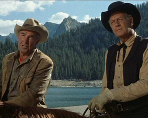 Randolph Scott amdJoel McCrea as aging cowboys in Ride the High Country, '62.