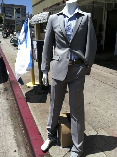 A suit for sale along Pico Boulevard. As I took this picture, the owner stepped out of his shop and told me that he would give me a good weal on the suit. I thanked him, but passed on the generous offer.