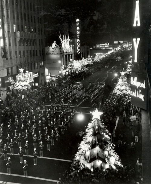 Christmas parade along Hollywood Boulevard, 1940s.