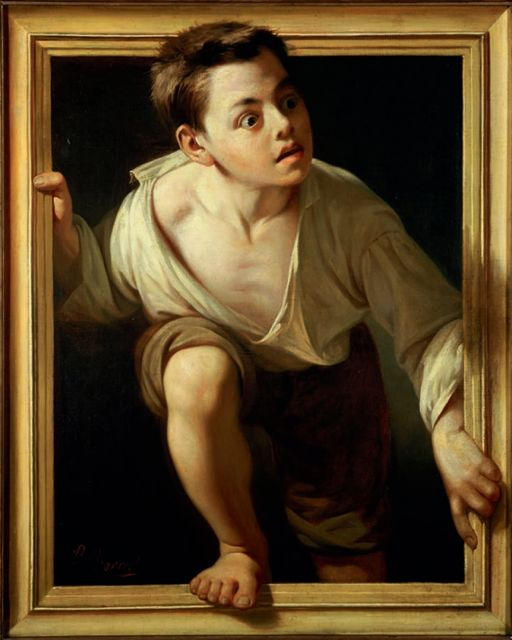 """Escaping Criticism"" 1874, by Pere Borrel del Caso (1835 -1910).  A masterful and witty example of  trompe-l'oeil where the artist tries to trick our eye by creating a convincing optical illusion. Here we have a boy dressed in rags escaping the confines the frame, his world, perhaps seeking a better life by stepping into the viewer's world."