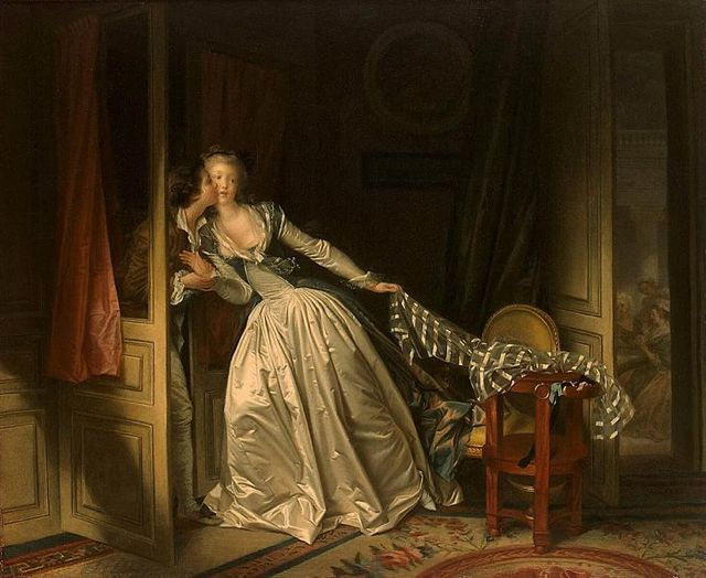 """The Stolen Kiss"" by Jean-Honoré Fragonard, painted in the 1780s. Fragonard was French Roccoco painter noted for his exuberant style and dedication to painterly hedonism. Fragonard, (1732-1806) incredibly prolofic. Wealthy art patrons of Louis XV's hedonistic court handed him enormously profitable commissions that emphasized scenes of love and courtly licentiuousness. fragonard was dismissed for many years by art historians as a frivouus sell-out. But more careful study of his enormous body of work—close to 600 paintings—reveals incredibly exuberant but confident brushwork that owesa great deal to Rembrandt's influence. In this wonderful painting, a young rake steals a kiss from a flirtatatious noblewoman. Are they lovers not yet married? Or perhaps they are married — but not to each other. Fragonard's characters seem to be percusors of the screwball comedy; lovingly exuberant people caught up in the complex web of love. His canvases take on a deep meloncholy after-image when you realize that almost all his subjects were soon guillotined."