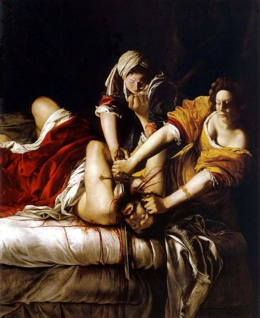 """Judith Slaying Holofornes"" by Artemesia Gentileschi, painted between 1611 and 1612. Ouch, that hurts. Genteleschi (1593 – c. 1656) was an Italian baroque painter. Genteleschi, a woman, was one of the most accomplished artists of her era. She had to fight for her rightful place in the art world.  Tragically, she herself was raped. No wonder she made a specialty of paiting strong, heroic women. The hard work of beheading Holofornes is on full display aas Judith and her maid hold down the struggling king, while cinematic jets of blood spurt over flesh and white linen. Genteleschi would have made a great Hollywood cinematographer."