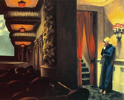 """New York Movie"" by Edward Hopper, painted in 1939. Hopper  (1882–1967) does a split screen here. The left frame shows us a movie theater, and a tuiny sliver of light on the screen. On the right, an usher who has seen the movie who knows how many times, leans against the wall, flashlight in hand, and dreams of being somewhere else. Notice how hoppoer leads our eye from foreground to background by the receding celing lights. amd the five steps framed by the red velvet curtains. Hopper understood that going to the movies is a communal experience, but as always with Hopper, a sense of soltitude and loneliness parvades his distinctly spare, introspecive compositions."