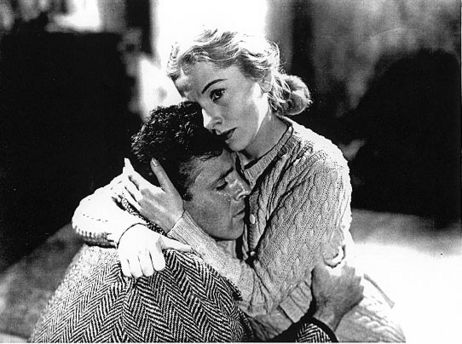 Joan Fontaine and Burt Lancaster in Kiss the Blood Off My Hands.