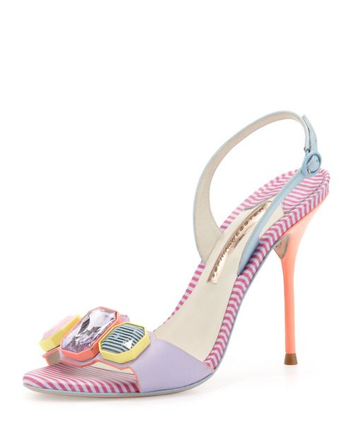Totally retro rhinestone and candy stripe heels by Sophia Webster.