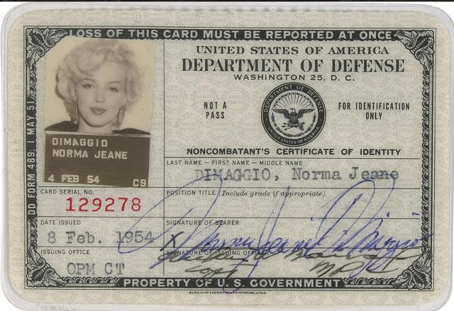 This 1954 Department of Defense ID card was for MMs tour to Korea. MM was incapable of taking a bad photo.
