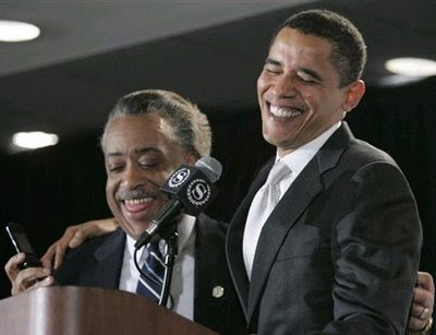 President of the United States Barack Obama with his friend and confidant, Al Sharpton, the butcher of Crown Heights and Harlem.