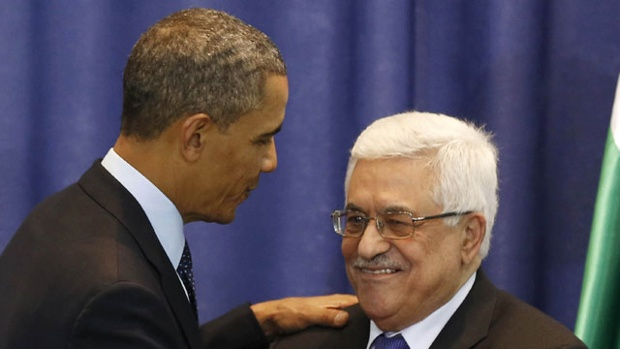 Barack Obama with his new BFF, Holocaust Denier Mahmoud Abbas.