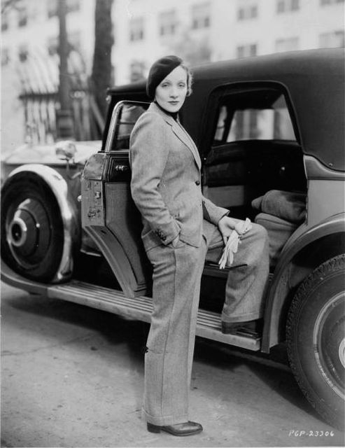 Marlene Dietrich with her Phantom Rolls Royce sedan, given to her by Paramount when she moved to the U.S. from Germany in 1930.