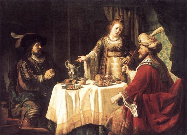 """The Banquet of Esther and Ahasuerus"" by Jan Victors, 1640s."