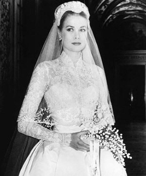 Princess Grace Kelly in the wedding gown designed for her by Helen Rose.