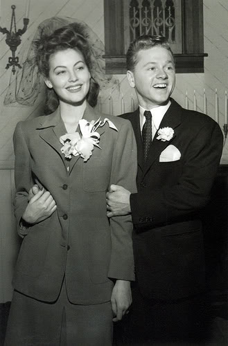 Ava Gardner and Mickey Rooney on their wedding day.