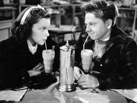 Judy Garland and Mickey Rooney in Love Finds Andy Hardy, 1938.
