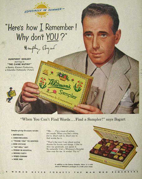 Call me crazy, but I do not associate Humphrey Bogart with chocolate. Not unless there's a pistol hidden in the box.