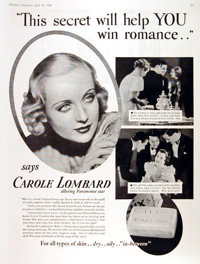 Carole Lombard was beautiful and talented. Obviously, the secret to her success was Lux soap.