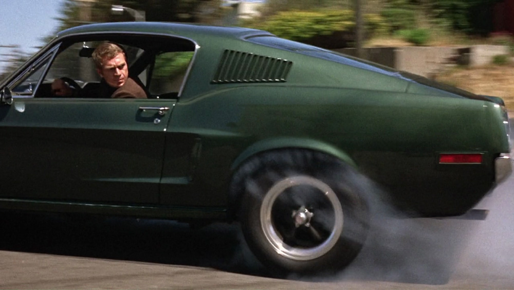 Bullitt ('68) stars the awesome Ford Mustang GT, and co-stars Steve McQueen.