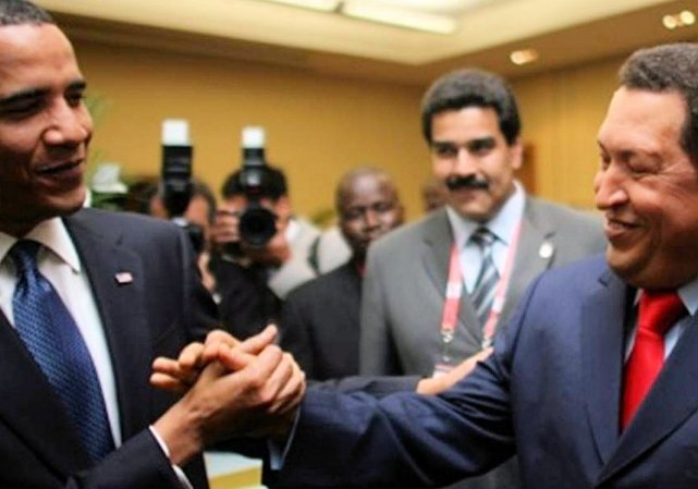 Marxist meets Marxist; Obama and Hugo Chavez, 2009.