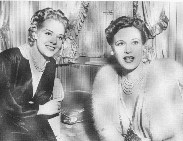 Alice Faye, left, and Esther Ralston on the set of Tin Pan Alley, 1939.