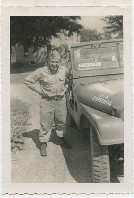 I found this snapshot among my father's papers. Not sue what year it was taken, but it seems to be in the late 50's early 60's. Not sure on  which army base he was posted, but it could have been Fort Drum. In any case, my father loved the Army, was proud of serving in the 42nd rainbow Division, wand absolutely loved zooming about in a jeep.