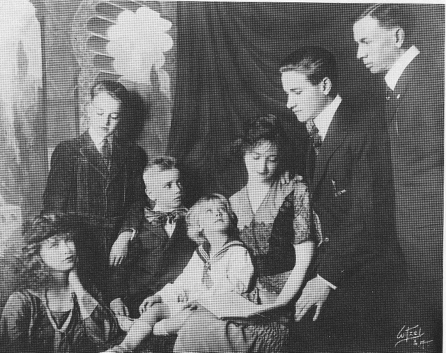 The Ralston Family, 1917, from left to right: Esther, Howard, Bradford, Carleton, Mama, Clarence, and Papa.