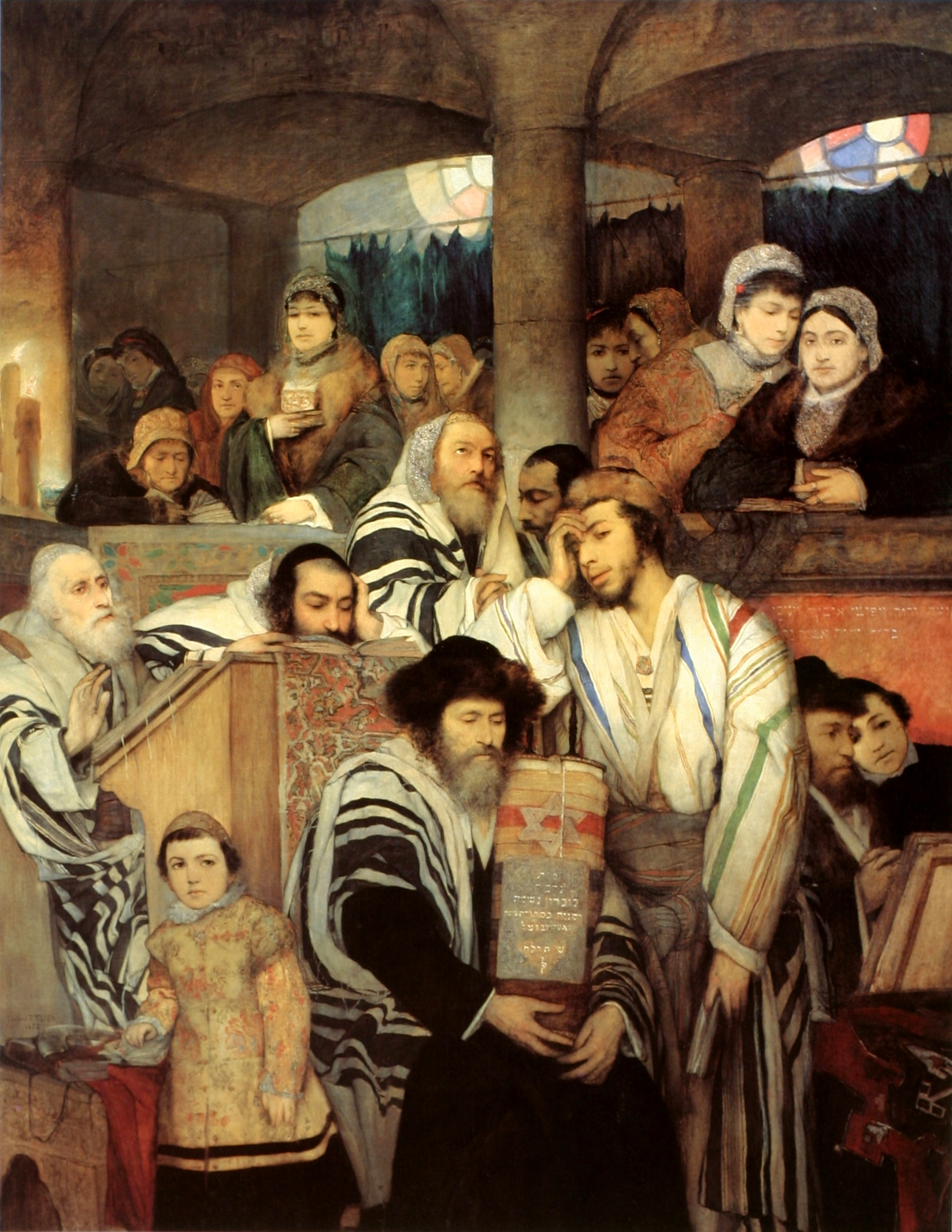 """Jews Praying in Synagogue on Yom Kippur"", by Gottlieb."