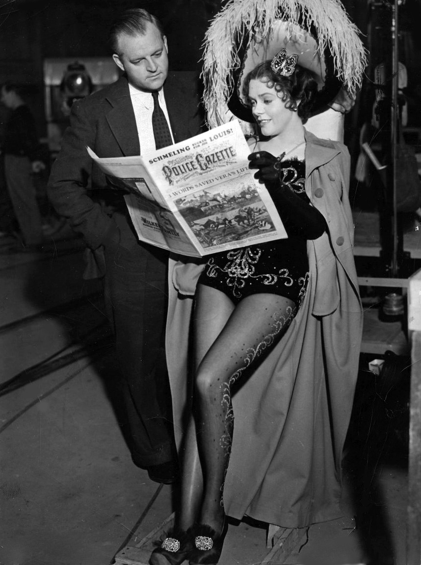 "Director Roy Del Ruth and leading lady Alice Faye between takes of ""On the Avenue"" ('37)."