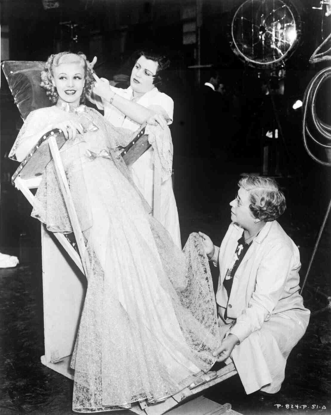 """Ginger Rogers rests on the set of the classic musical """"Top Hat"""" ('35)."""