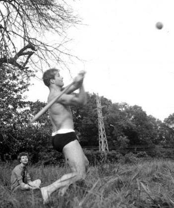 While studying The Method at the Actor's Studio, Marlon Brando takes time out for some baseball.