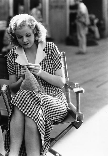The public imagined Jean Harlow as a party girl, but the platinum blonde yearned for a normal domestic life — which included lots of knitting.