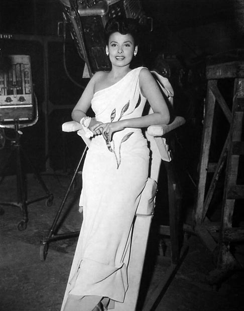"Lena Horne leans between takes on ""I Dood It"" ('43)."