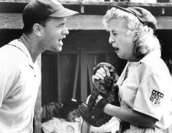 """""""There's no crying in baseball!"""" Tom Hanks and Madonna in """"A League of Their Own"""", 1992"""