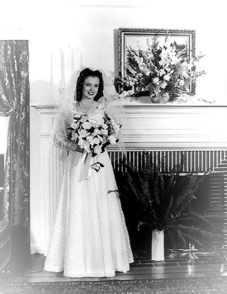 Norma Jean, 16, marries  J. Dougherty, 1942.