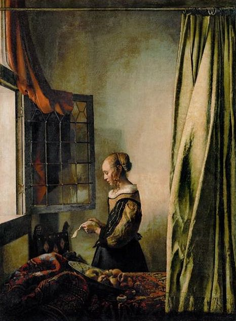 """Woman Reading a Letter,"" by Jan Vermeer. If I could own any painting in the world, this would be the one."