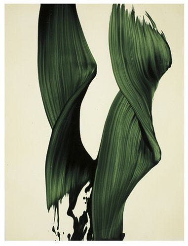 Since we're doing green, here's a wonderful waiting by James Nares. He straps himself into a harness which is attached to the ceiling of his studio. Then he swoops across the canvas, painting his signature gestural marks.