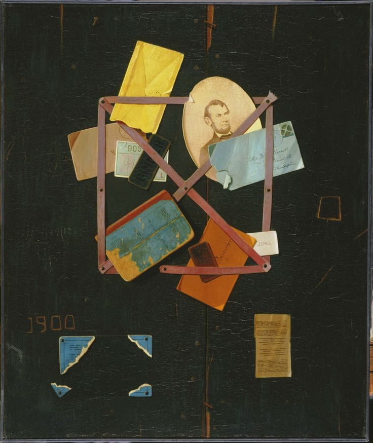 """""""Old Time Card Rack"""" by John F. Peto (1854 – 1907). Peto was an American master of  trompe l'oeil (""""fool the eye"""") paintings."""
