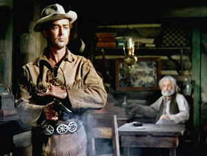 "Alan Ladd as the lone hero who defeats evil, ""Shane"" 1953."